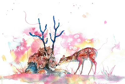 PeiChung作品《Lion kiss the deer》